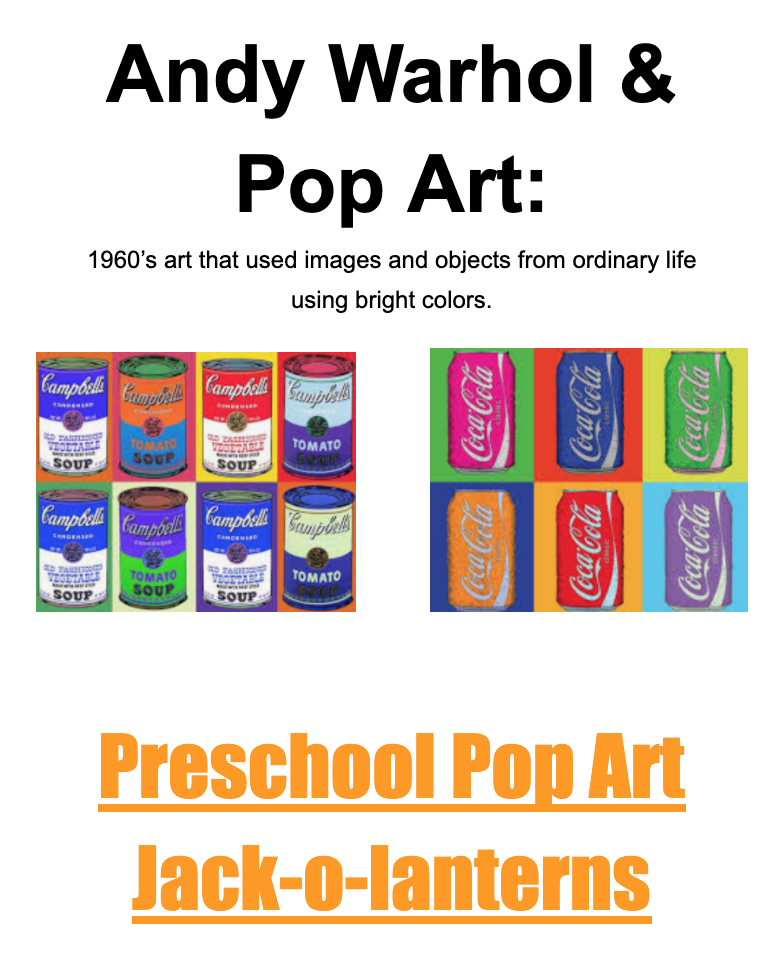 Preschool Pop Art Lesson