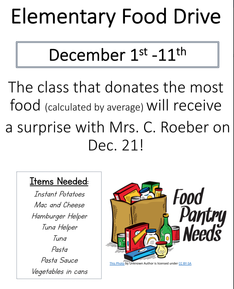 Elementary Food Drive: Dec. 1st-11th