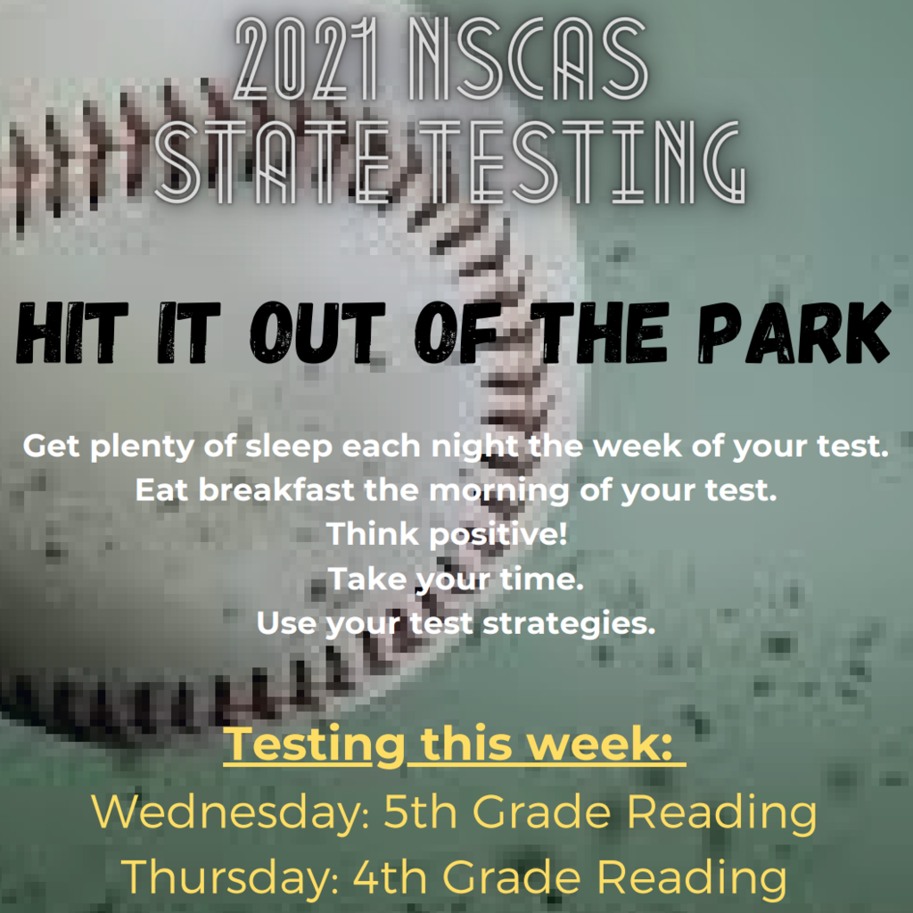 NSCAS Testing: Week of March 22, 2021