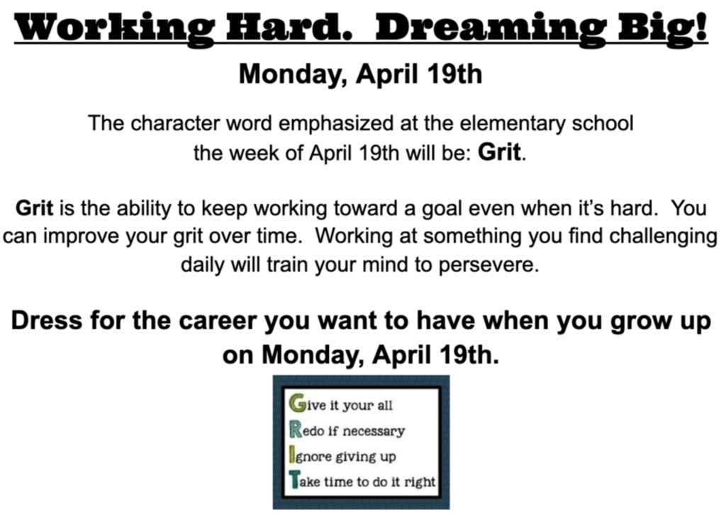 Grit: Working Hard!  Dreaming Big!