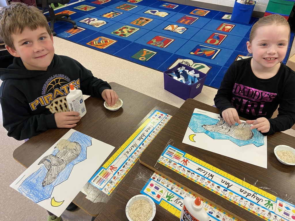 Evan and Jayden covering their polar bears.