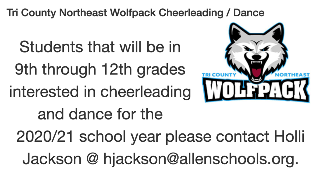 Tri County Northeast Cheerleading & Dance Announcement